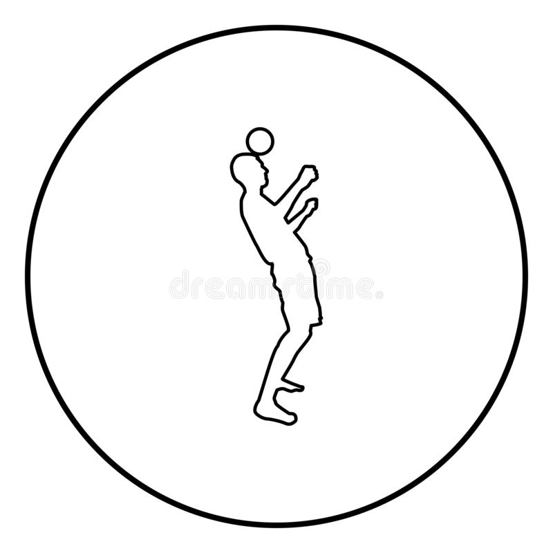 Man kicks the ball on head. Soccer player taps ball with his head Football concept Juggling trick with ball icon outline black. Color vector in circle round stock illustration