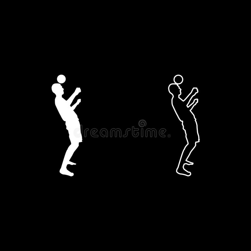 Man kicks the ball on head. Soccer player taps ball with his head Football concept Juggling trick with ball icon set white color. Illustration flat outline vector illustration