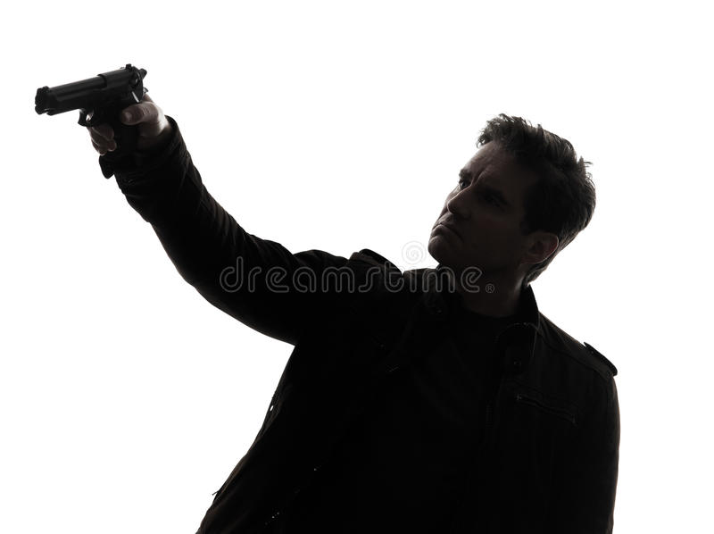 Download Man Killer Policeman Aiming  Gun Silhouette Stock Image - Image: 31365547