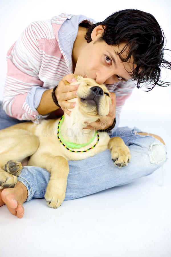 Man kissing young puppy labrador stock photo