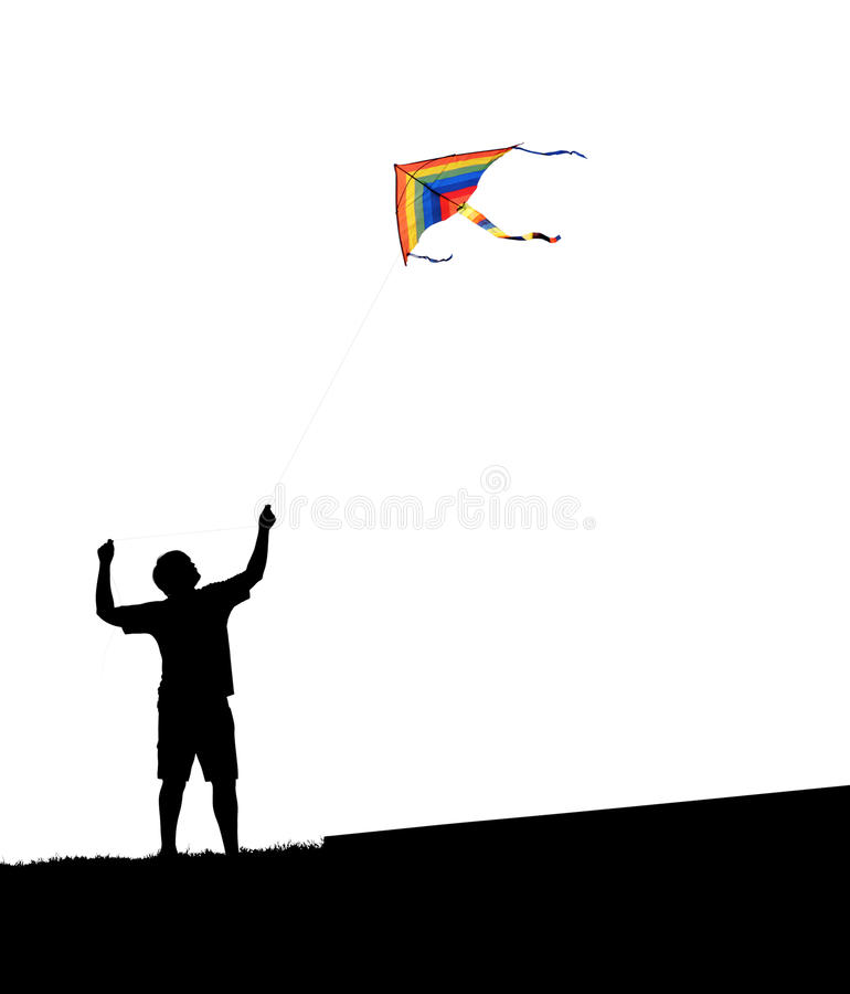 Man and kite. On a white background royalty free stock image