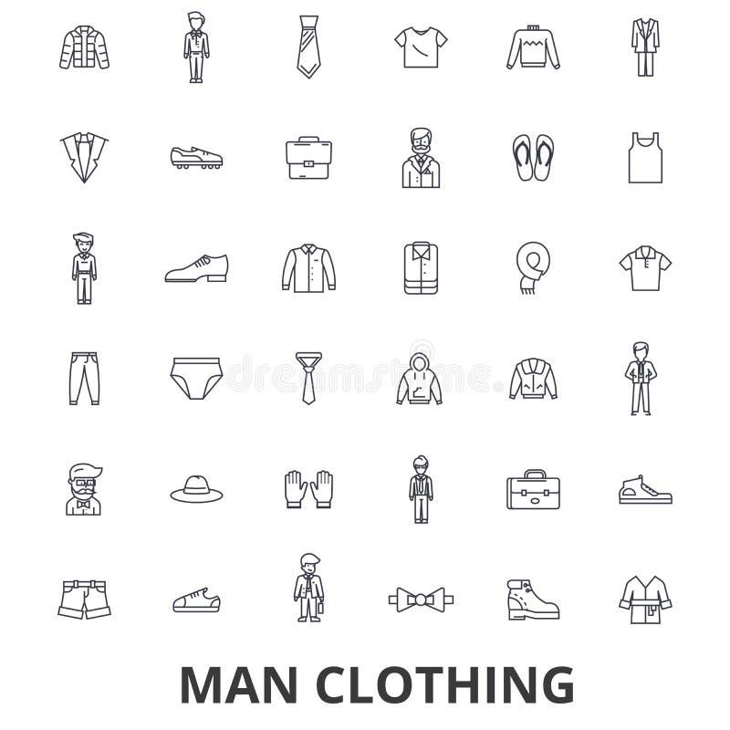 Man kläder, kläder, mode, kläder, skon, bandet, dräkten, skjortalinjen symboler Redigerbara slaglängder Plan designvektor vektor illustrationer
