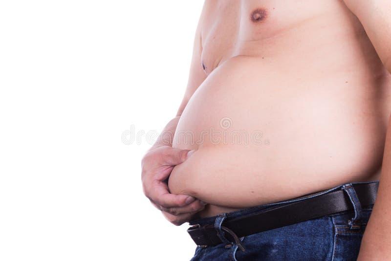 Man klämmande av den sjukliga stora buken med invärtes eller subkutant f arkivbild