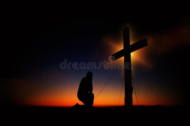 Man Kneeling In Front Of Cross Free Public Domain Cc0 Image