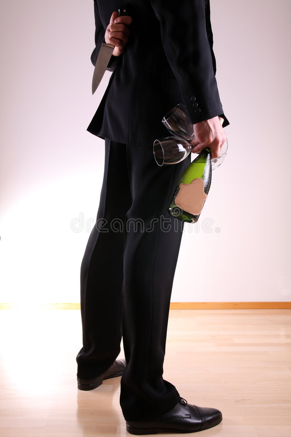 Man with knife royalty free stock photography
