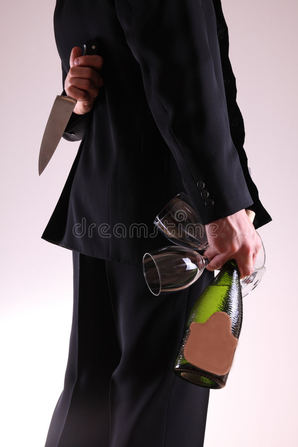 Man with knife stock photo