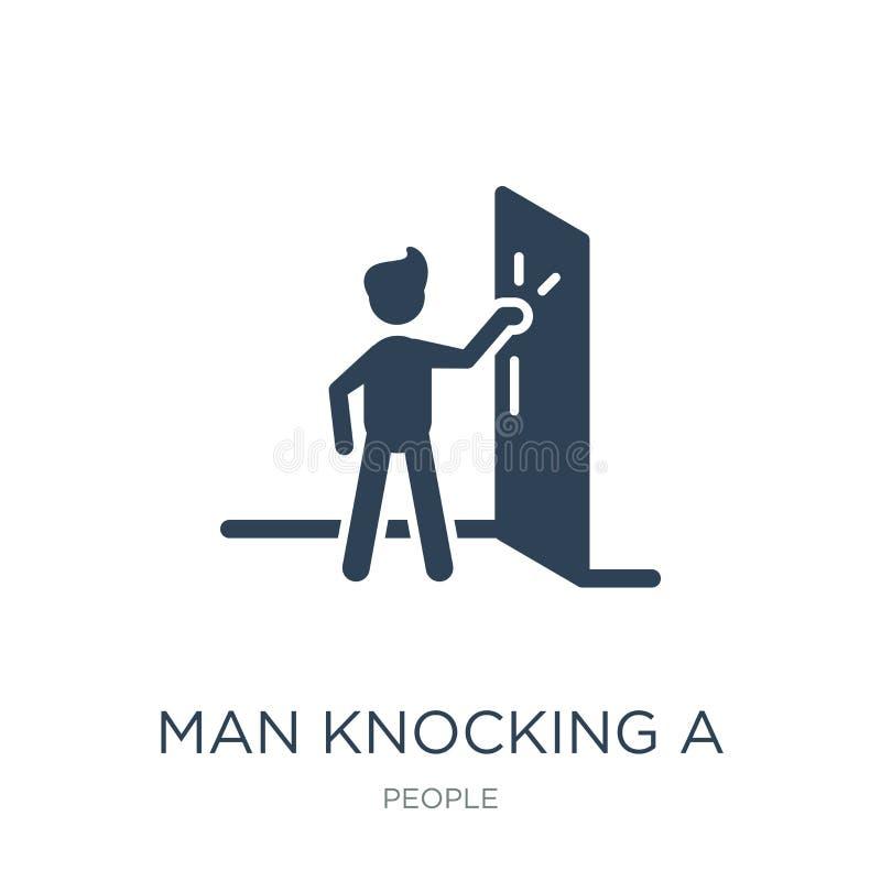 Man knocking a door icon in trendy design style. man knocking a door icon isolated on white background. man knocking a door vector. Icon simple and modern flat royalty free illustration