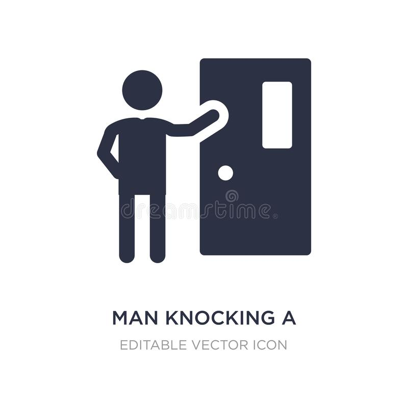 man knocking a door icon on white background. Simple element illustration from People concept stock illustration