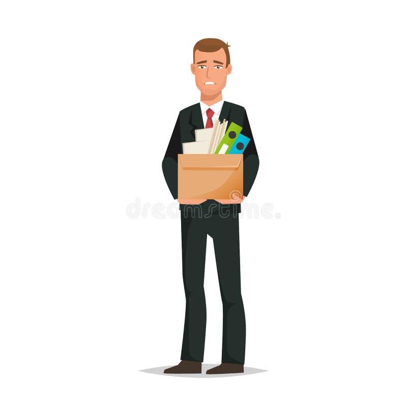 Man kontorsarbetare som rymmer asken med dokument, avskedande från arbete stock illustrationer
