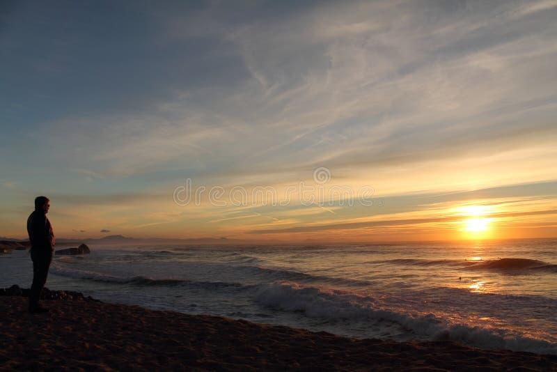 Man konturn som beundrar Atlantic Ocean med avbrottsvågor med berglarhune i baksidan i solnedgången, capbreton, Frankrike royaltyfria bilder