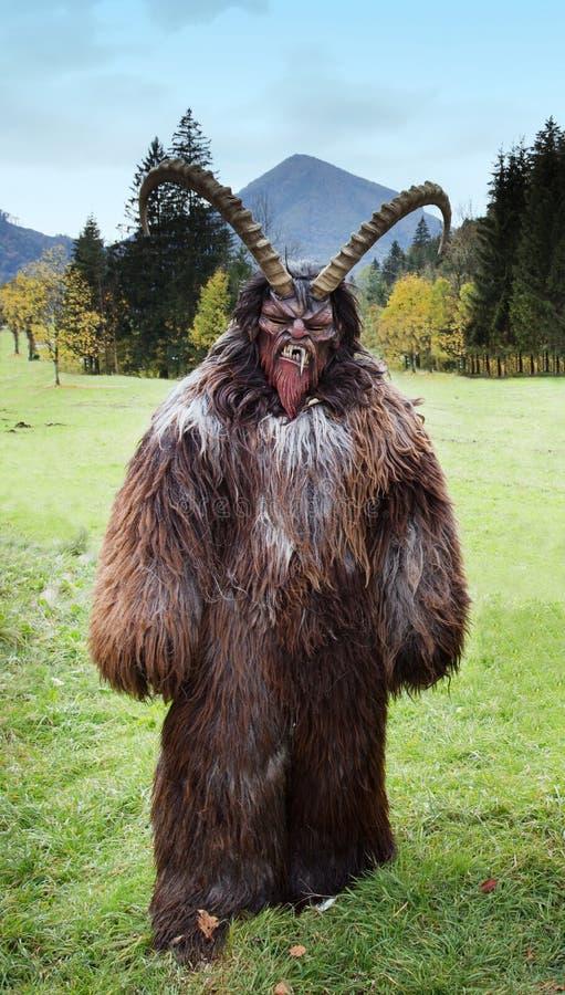Man in Krampus costume royalty free stock photos