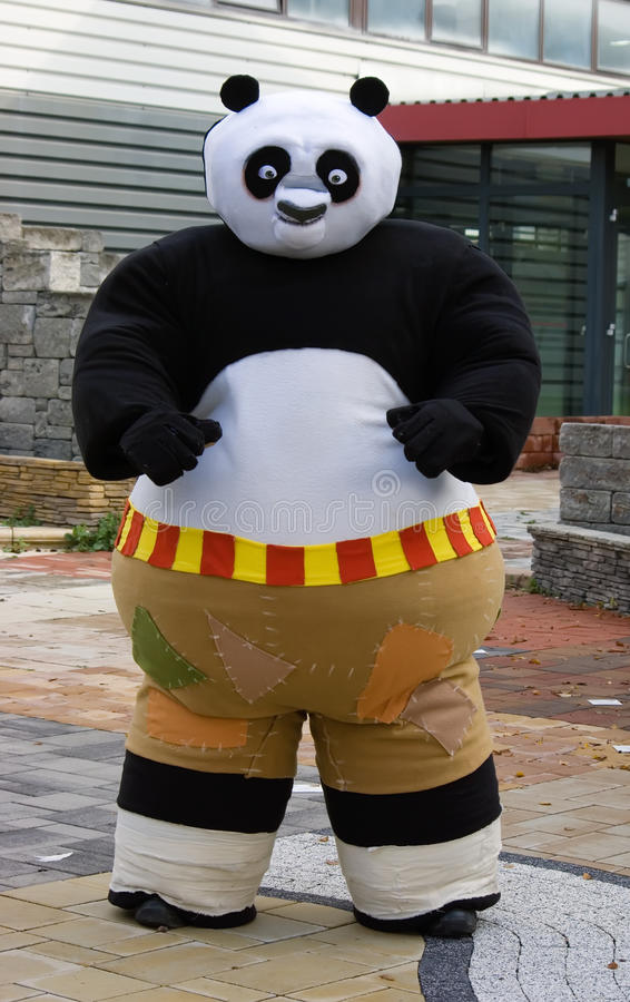 Man in a Kung Fu Panda cosplay royalty free stock image