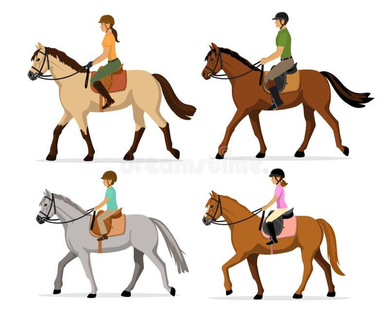 Man kvinna, pojke, uppsättning för illustration för vektor för flickaridninghästar som isoleras royaltyfri illustrationer