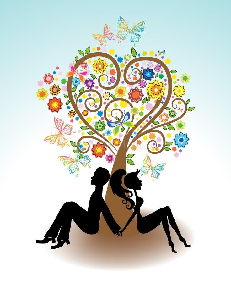 Man kvinnasammanträde under förälskelsetree royaltyfri illustrationer