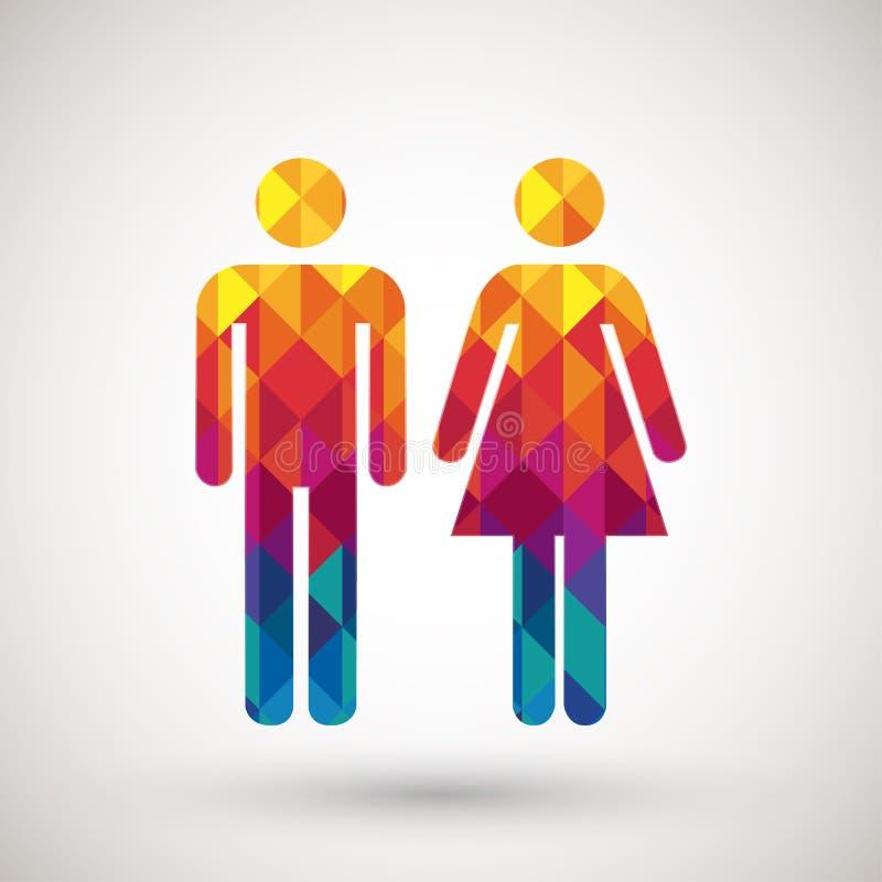 Man- & kvinnatoaletttecken med den färgrika diamanten vektor illustrationer