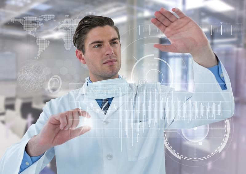 Man in lab coat behind white graph and flare against white interface and blurry lab stock photos