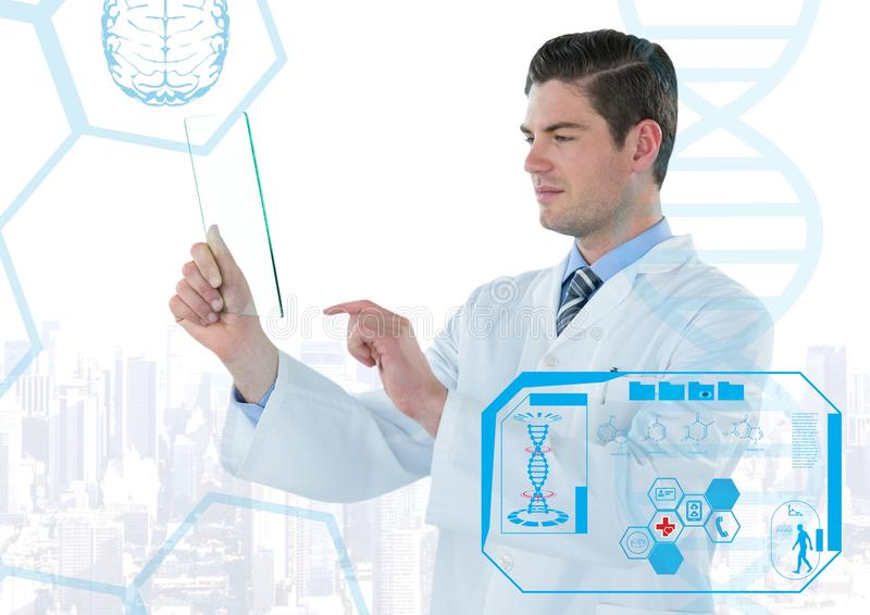 Man in lab coat holding up glass device behind blue medical interface against white skyline royalty free stock images