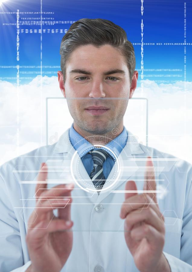 Man in lab coat holding up glass device with white interface against blue sky with cloud royalty free stock photo
