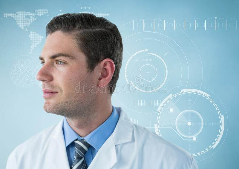 Man in lab coat looking to side against white interface and blue background stock photos