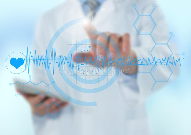 Man in lab coat pointing at blue medical interface against light blue background royalty free stock photo