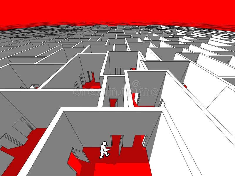 Man in a labyrinth royalty free illustration