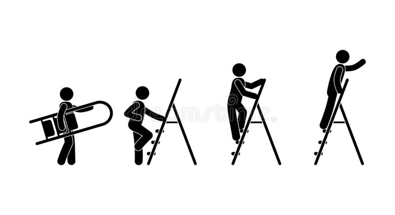Man with a ladder icon, stick figure pictogram human silhouette stock illustration
