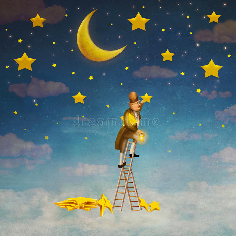 Man on a ladder reaching for stars stock illustration