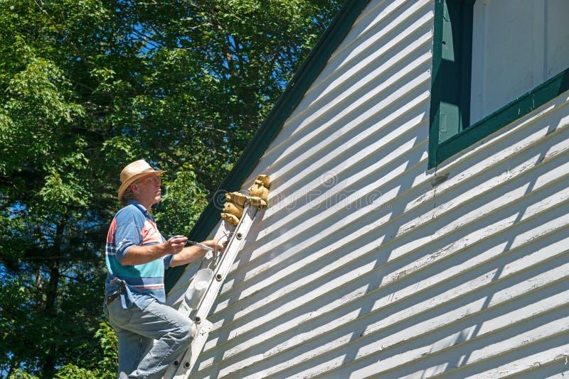 Download Man Ladder Surveying Work Done Stock Image - Image: 33577451