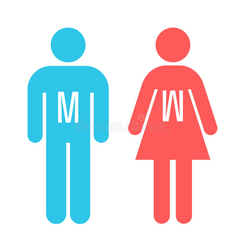Man and lady toilet sign stock illustration