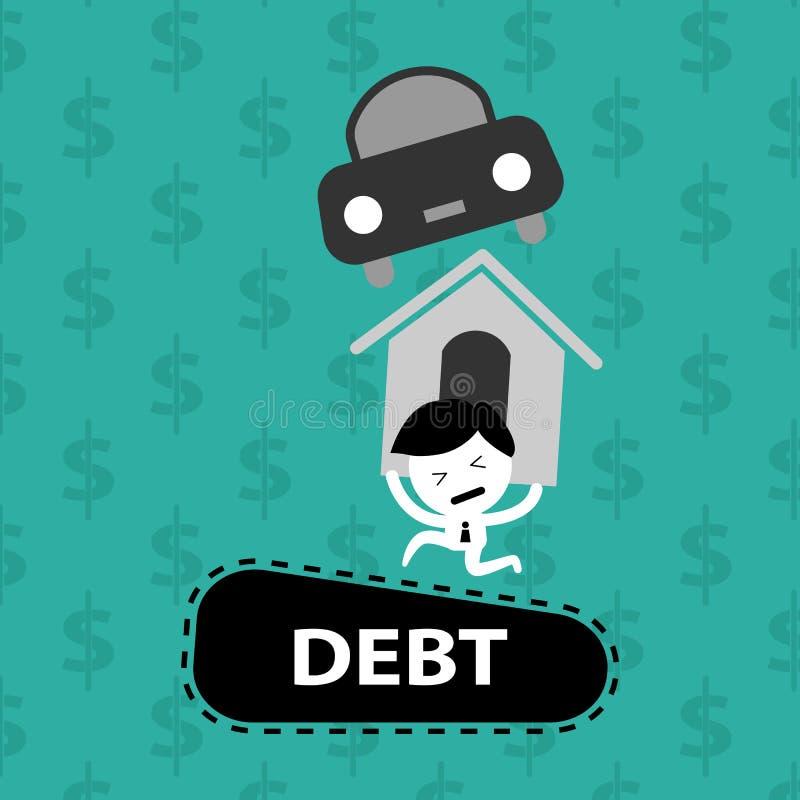Man lager på skulder, bostadslånet, bilen, räkningar royaltyfri illustrationer