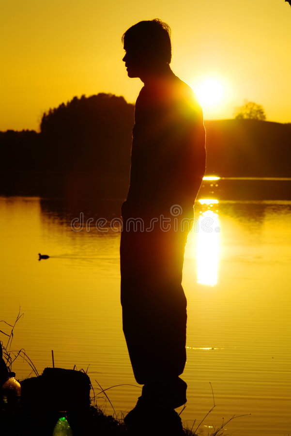 Download Man by lake at sunset stock image. Image of sundown, duck - 344811