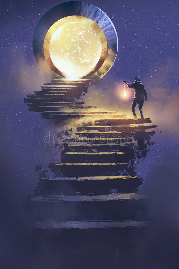 Man with a lantern walking on stone staircase leading up to fantasy gate. Illustration painting vector illustration