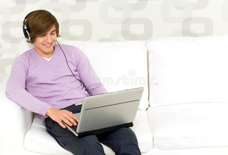 Download Man with laptop stock photo. Image of laptop, happy, home - 12762972