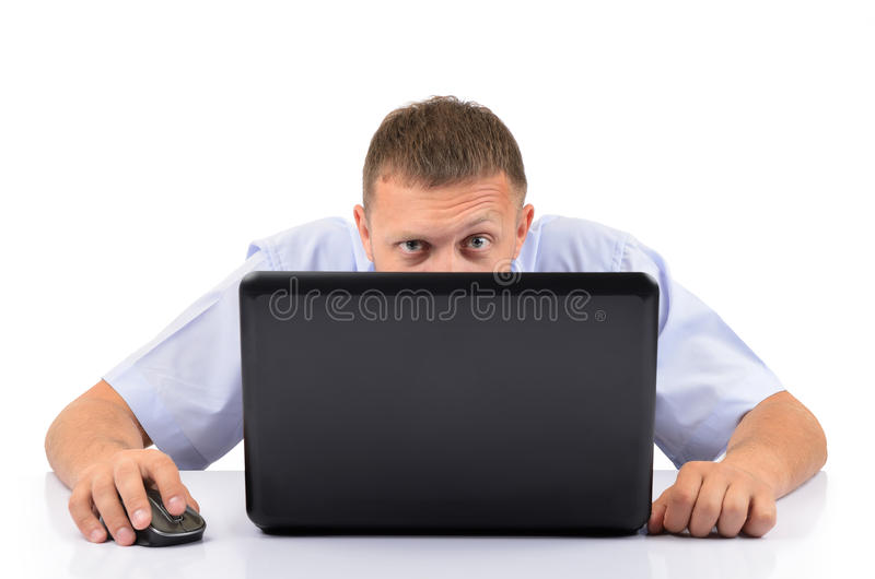 Download Man with a laptop stock photo. Image of daydreaming, bright - 26334810