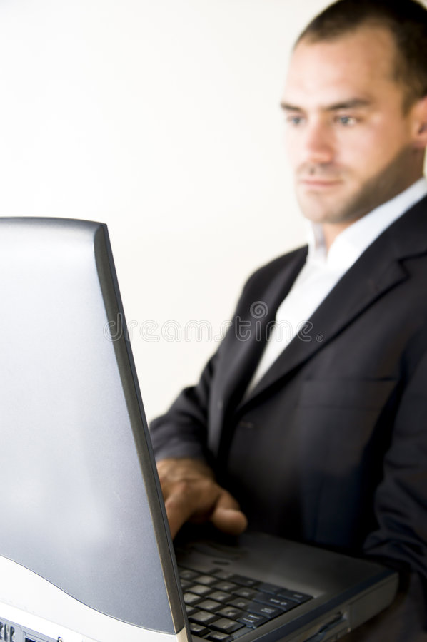 Man and laptop royalty free stock images