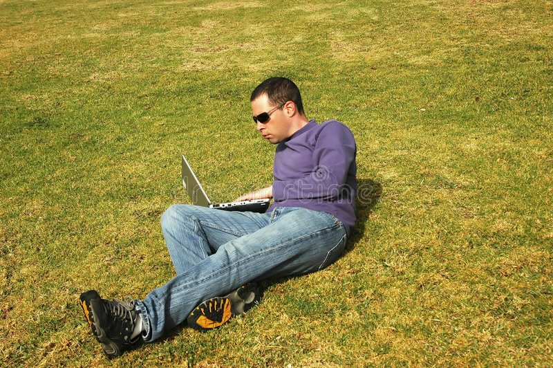 Download Man with laptop stock image. Image of outdoor, education - 610869