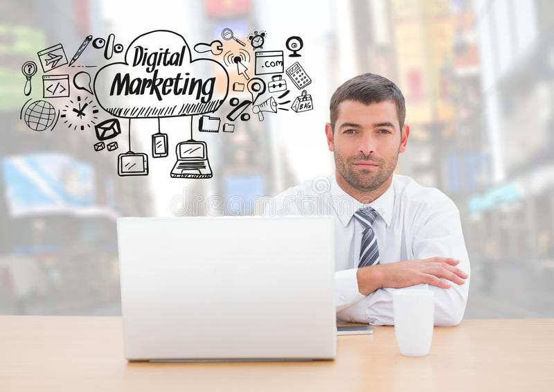 Man with laptop and Digital Marketing text with drawings graphics vector illustration