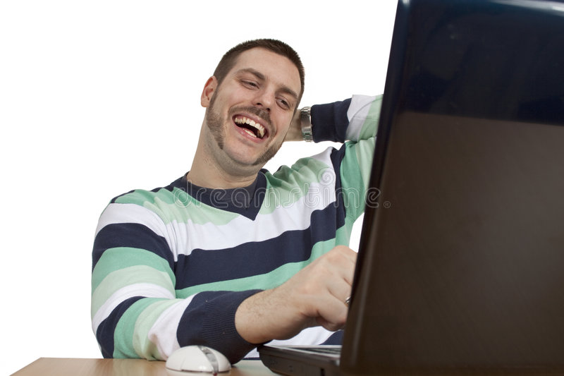 Man, laptop, happiness, smile stock images