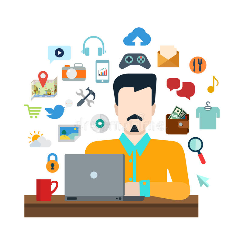 Man with laptop internet object: social media lifestyle collage. Flat style online social media content sharing lifestyle infographics icon set concept collage royalty free illustration