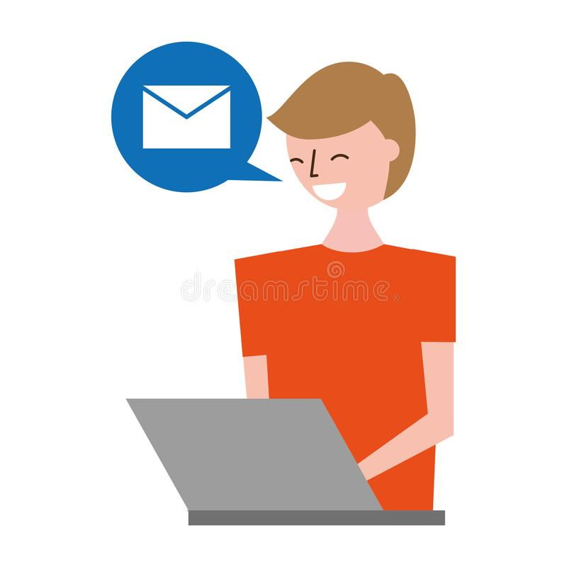Man with laptop receiving email stock illustration