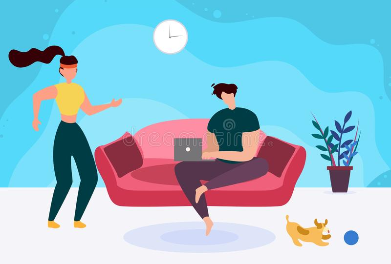 Man with Laptop on Sofa and Active Sporty Woman. Cartoon. Young Married Couple in Living Room. Husband Freelancer Working on Computer, Wife Return from Morning vector illustration