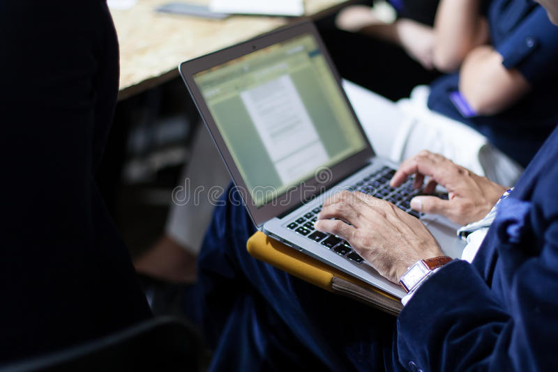 Man with laptop royalty free stock image