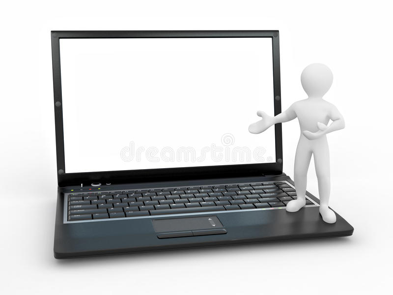 Download Man With Laptop On White Isolated Background Stock Illustration - Illustration: 17294227