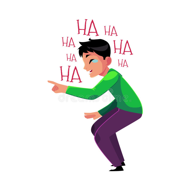Man laughing out loud, crying from laughter, pointing, bending knees. Young man laughing out loud, crying from laughter, pointing, bending knees, cartoon vector stock illustration