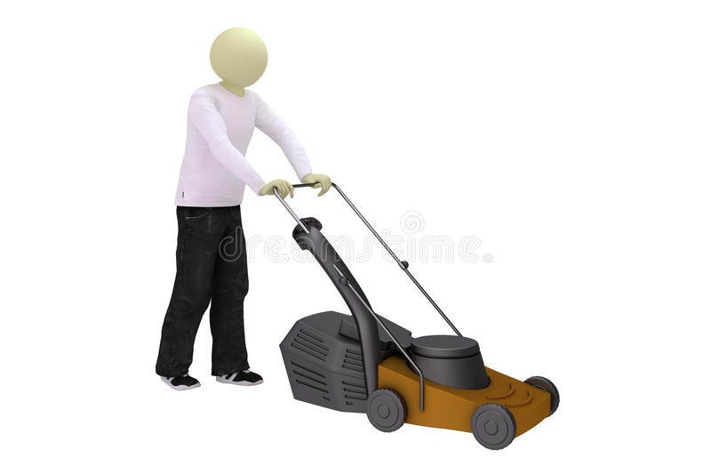 Man with lawn mower. On white background royalty free illustration