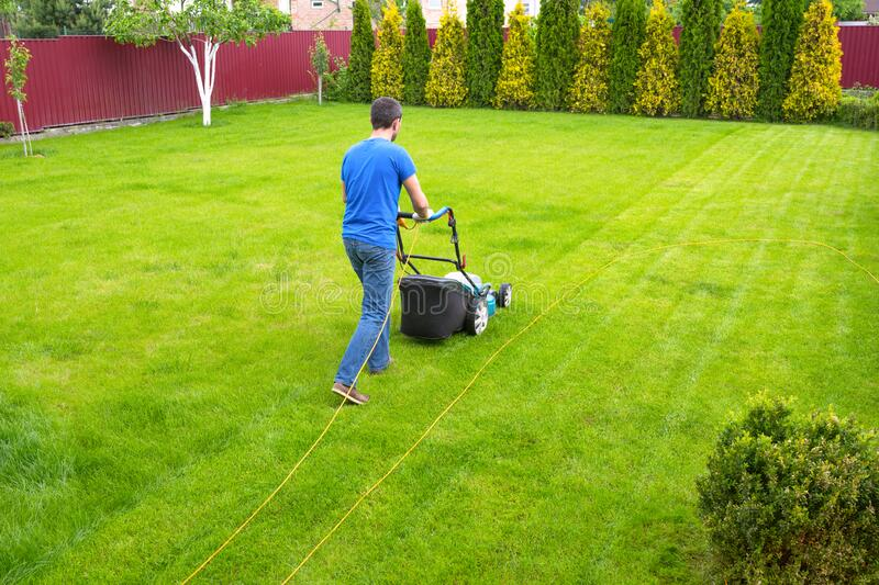 A man with a lawn mower is cutting green grass. A gardener working on the backyard royalty free stock photo