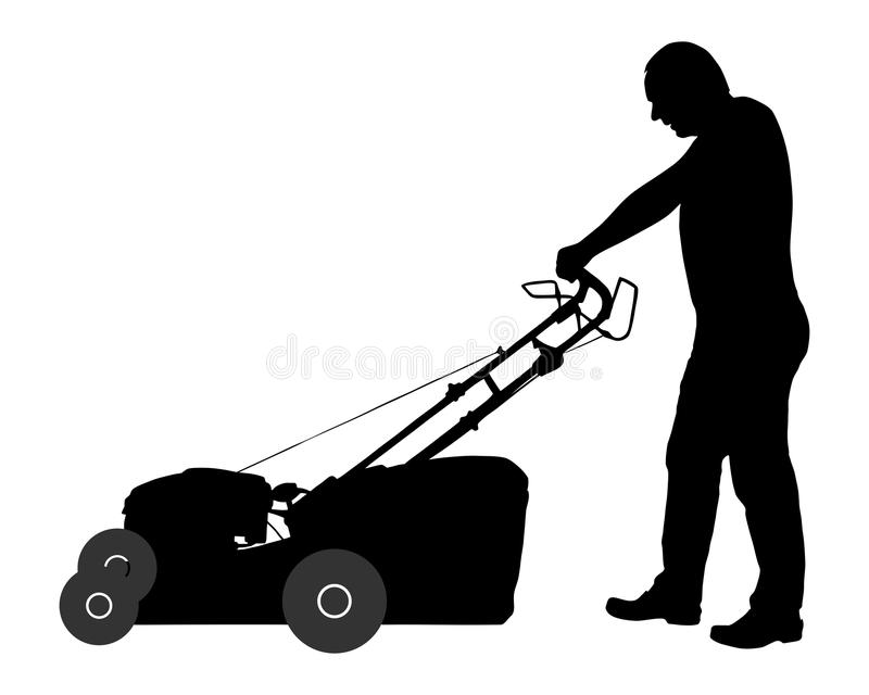 Man with lawn-mower vector illustration