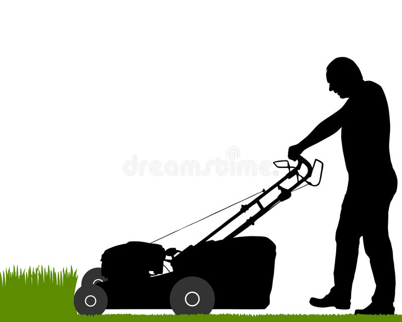 Man with lawn-mower stock illustration