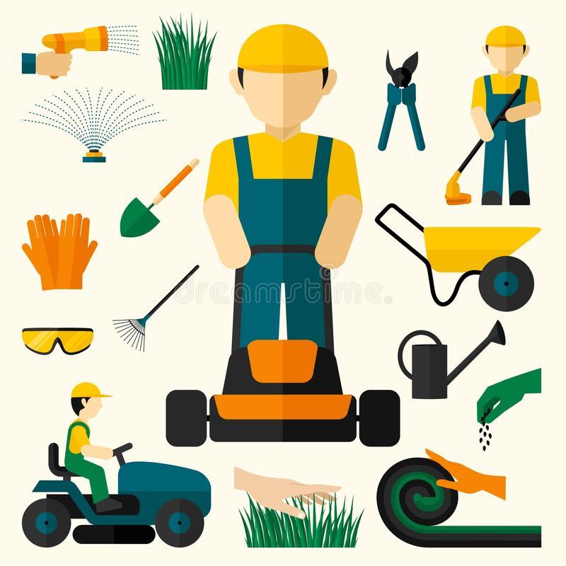 Man With Lawn Mower. And garden equipment decorative icons set isolated vector illustration stock illustration