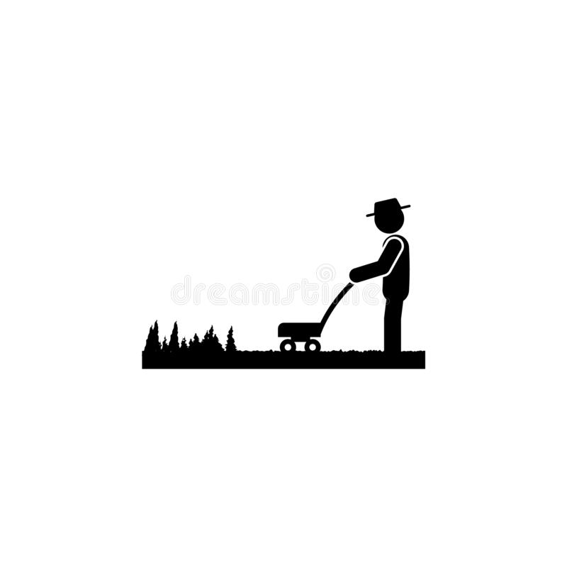 Man lawn mower icon. Element of gardening icon for mobile concept and web apps. Glyph lawn mower can be used for web and mobile. On white bakgorund royalty free illustration